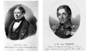 Friedrich Cerf (1771-1845) , Direktor des Königstädtischen Theaters in Berlin (links) Johann Wilhelm von Wiebel (1767-1847), Leibarzt von König Friedrich Wilhelm III. von Preußen (rechts)