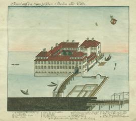 Wollmanufaktur von Johann George Wegely auf der Spreeinsel, Tuschfederzeichnung 1737
