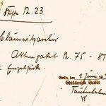 Zettel des Stadtarchivs Berlin
