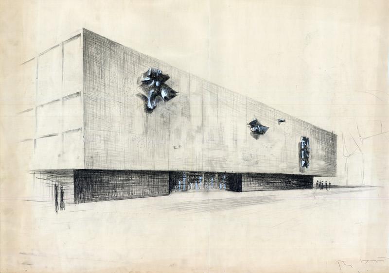 [Fassadenentwurf Deutsche Oper, Bismarckstr. 34-37, Charlottenburg] F. Bornemann ca. 1956 B Rep. 009 (Karten), Nr. 142