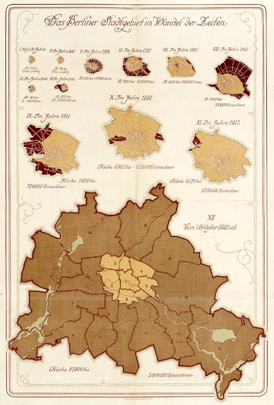 Das Berliner Stadtgebiet im Wandel der Zeiten 1928