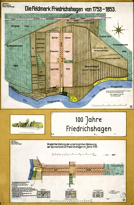 """Die Feldmark Friedrichshagen von 1753-1853 (1933) Vermessungsamt Berlin-Köpenick; bearb. von """"ER"""" 1753-1853 (1933) F Rep. 270, A 4322"""