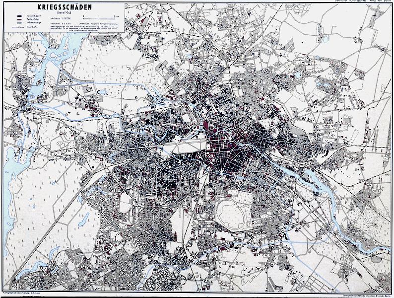 Deutscher Planungsatlas. Atlas von Berlin, Bl. 23 Kriegsschäden Hrsg. Akademie für Raumforschung und Landesplanung und Senat von Berlin; Druck Lindemann & Lüdecke, Berlin, 1948-1961 F Rep. 270, A 8183