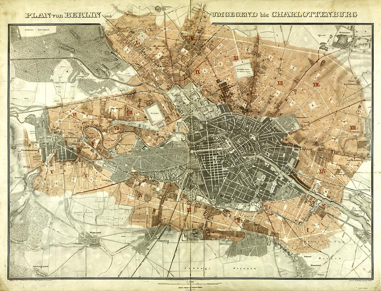 Plan von Berlin und Umgegend bis Charlottenburg 1865 Allg. Kartensammlung, A 1457