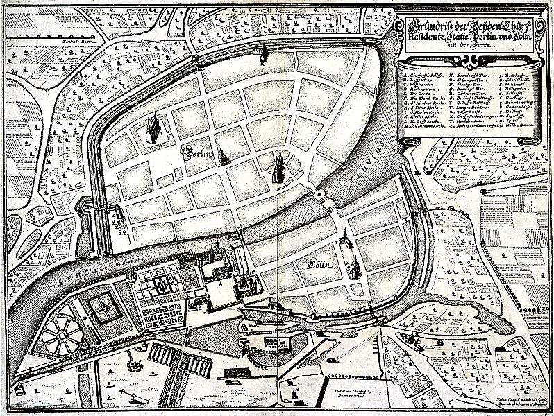 Grundriss der beyden Churf[ürstlichen] Residentz Stätte Berlin und Cölln an der Spree, 1648 (1652) Aufnahme J. G. Memhard Allg. Kartensammlung, A 9