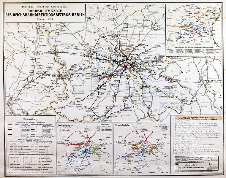 Übersichtskarte des Reichsbahndirektions Bezirks Berlin, Entwurf und Druck Deutsche Reichsbahn-Gesellschaft, 1933, A Rep. 080 (Karten), Nr. 253