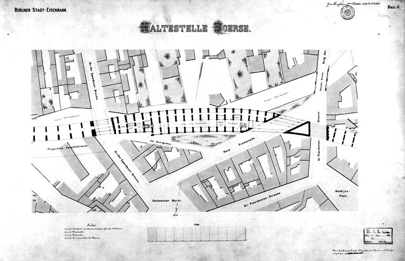 Berliner-Stadteisenbahn. Haltestelle Boerse, Zeichnung von Francke, Oktober 1879, A Rep. 080 (Karten), Nr. 619 (14)