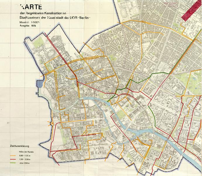 Karte der begehbaren Kanalisation im Stadtzentrum der Hauptstadt der DDR - Berlin - Ausgabe 1978, 1978, C Rep. 303 (Karten), Nr. 14
