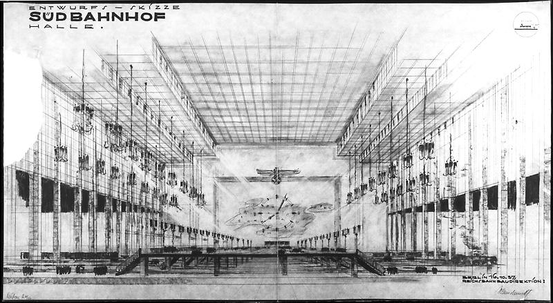 1937, E. Kleinschmidt, Reichsbahnbaudirektion; H. H. Leufgen - Architekt, Teil der NS-Planungen des Generalbauinspektors A. Speer in Zusammenarbeit mit der Reichsbahn.