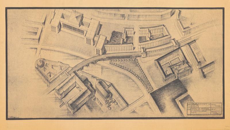 """Schaubild zur Umgestaltung des Geländes u[nd] Bahnkörpers am S-Bahnhof """"Börse"""" Berlin Heilig, Reichsbahndirektion 1938 A Rep. 080 (Karten), Nr. 622 (1)"""