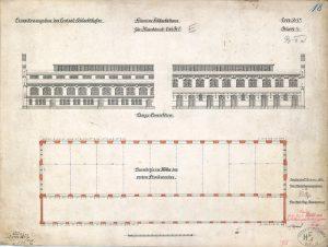 Erweiterungsbau des Central-Schlachthofes. Schweine Schlachthaus für Kleinbetrieb. Litt. B I. Blatt 1, 1896 Tietze, Stadtbauinspektor; L. Hoffmann, Stadtbaurat A Rep. 258 (Karten), Nr. 89