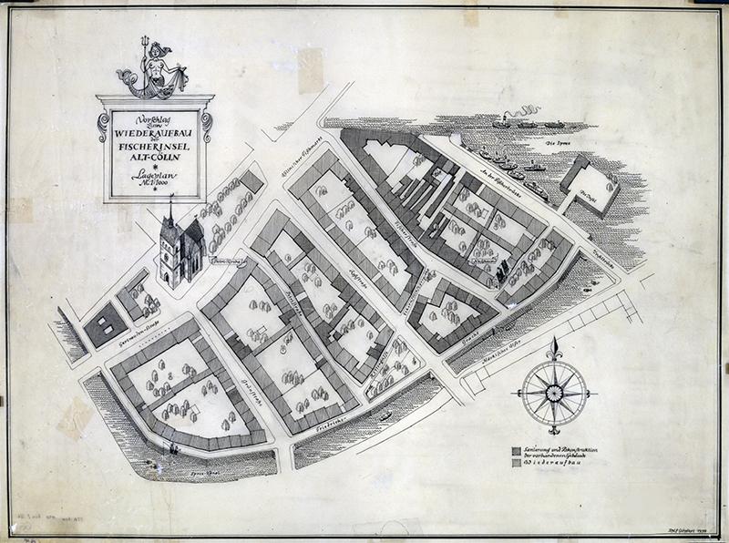 Vorschlag zum Wiederaufbau der Fischerinsel Alt-Cölln_Lageplan M 1:1000 R. Göpfert, 1954 C Rep. 110-01 (Karten), Nr. 66