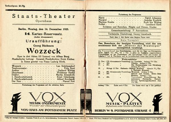 """Programm des Opernhauses Berlin zur Uraufführung von """"Wozzeck"""", 1925, A Rep. 167, Nr. 6193"""